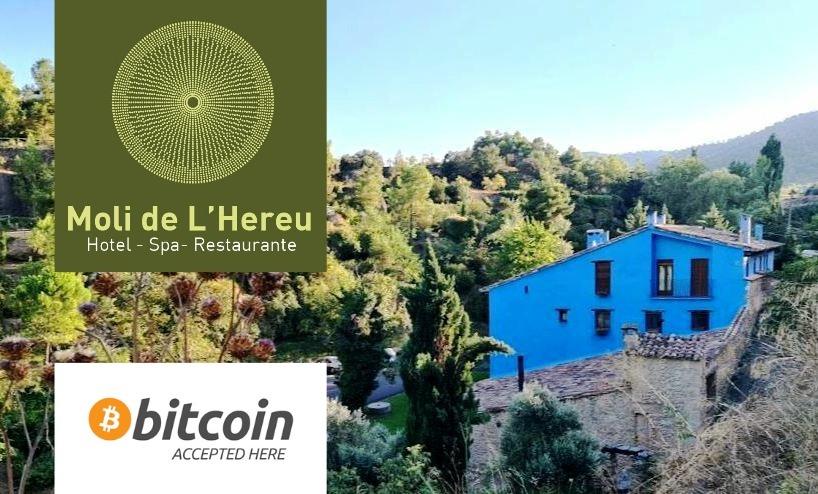 Aceptamos Bitcoin Hotel Moli del Hereu Rafales Matarraña